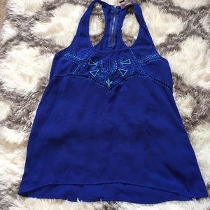 Royal Blue Tank With Cutout Design